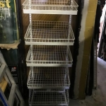Slanted 5 wire basket display rack on wheels