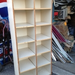 Multi pigeon hole wooden shelving unit