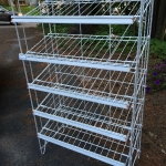 Slanted metal shelving