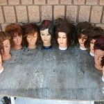 Assorted female heads with human hair