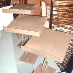 Slanted metal shoe racks