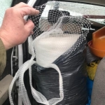 roll of nylon sock - net, stretches up to 12' in diameter approx.18'' by 24''